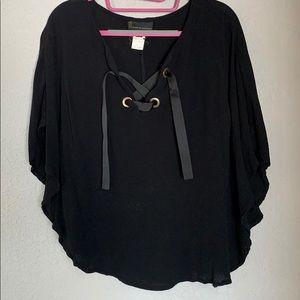Black blouse, faux cape